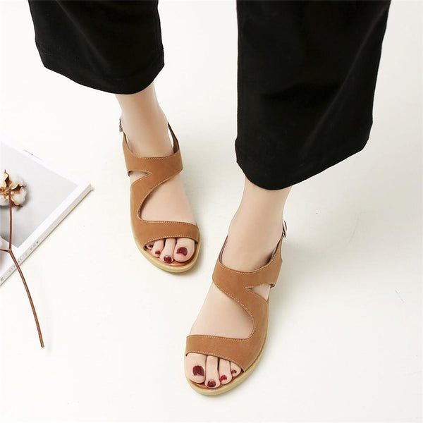 Women Buckle Strap Chunky Heels Sandals