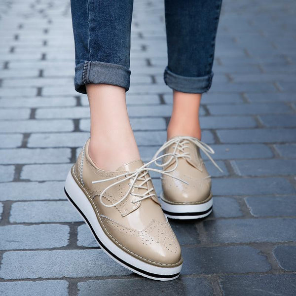 Women's British Style Brogue Plateform Loafers Sneakers