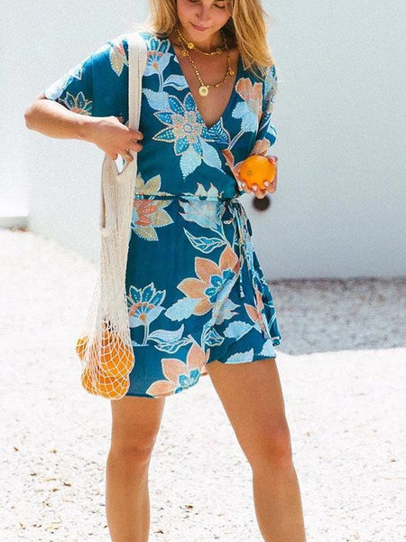 Blue Short Sleeve Floral-Print Casual Dresses