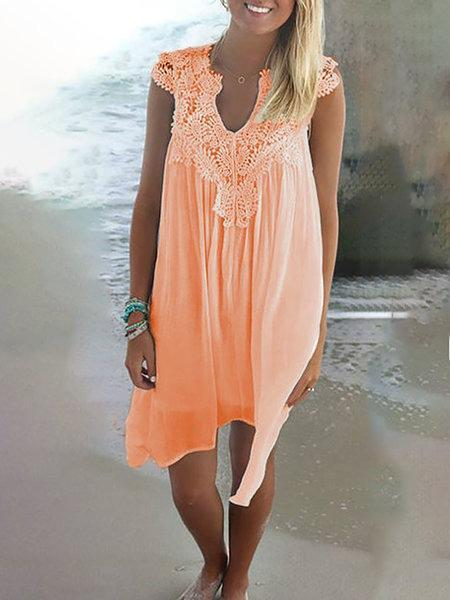 Cutout Shift V Neck Casual Dresses
