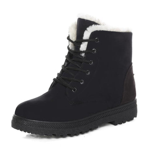 Women Warm Fur Lined Snow Boots Casual Short Boots