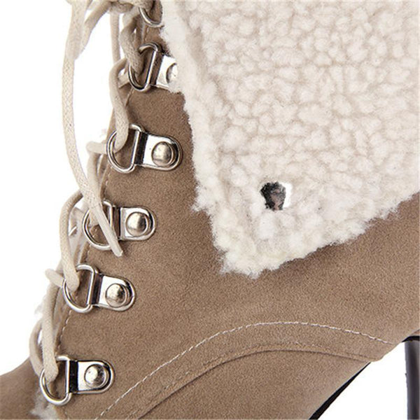 Women High Heel Winter Ankle Lace Up Snow Boots