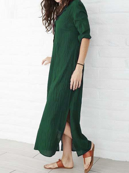 Plus Size Women Shift Daily Casual 3/4 Sleeve Cotton Slit Solid Dress