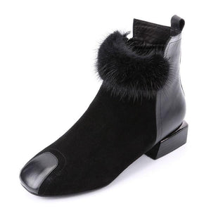 Women's Rabbit Hair Short Boots