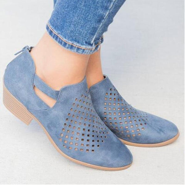 Andynzoe Breathable Vintage Mesh Hole Women Ankle Boots