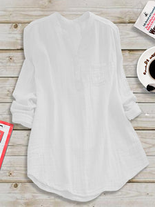 Casual Paneled Stand Collar Linen Plus Size Blouse