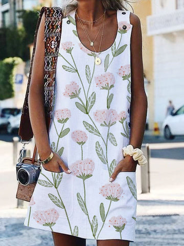 Shift Floral Sleeveless Casual Casual Dresses