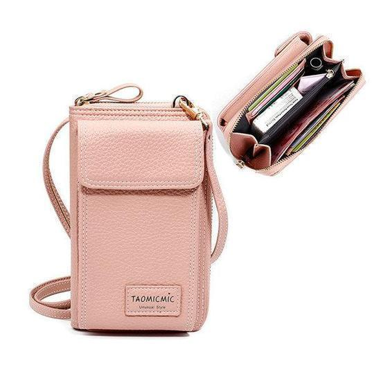 Women Solid Faux leather Clutch Bag 4 Card Slot Card Bag Phone Bag Leisure Crossbody Bag - Roseairign