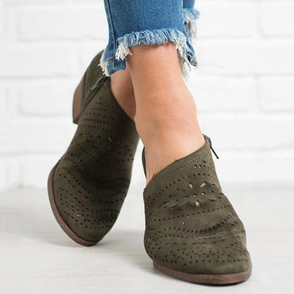 Hollow-Out Low Heel Cutout Booties Suede Zipper Ankle Boots