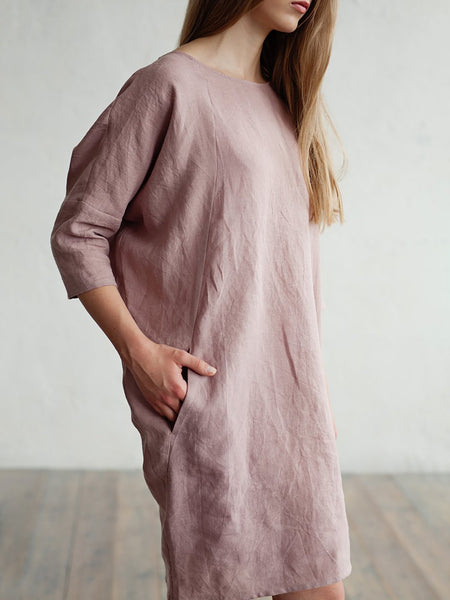 Pink Shift Women Casual 3/4 Sleeve Pockets Solid Summer Dress