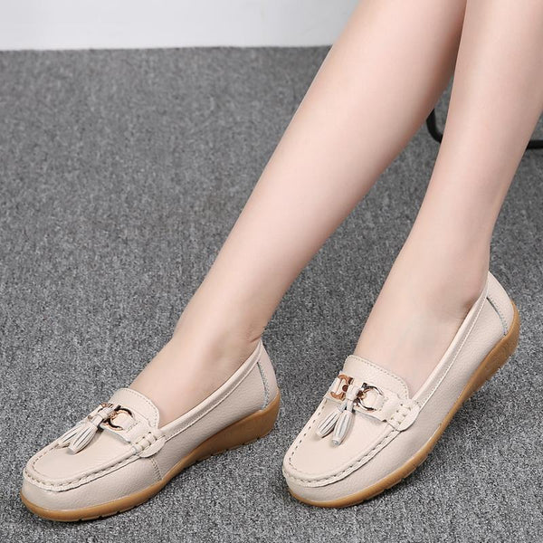 Women's Genuine Leather Soft Bottom Wedge Tassel Loafers