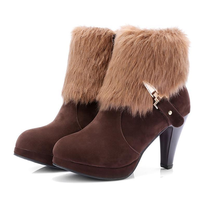 Women Winter Faux Fur High Heel Ankle Side Zipper Boots