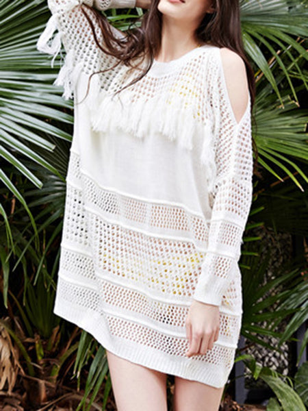 White Acrylic Cold Shoulder Fringes Cover Up