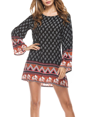 Tribal Cotton Long Sleeve Casual Dresses