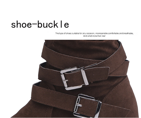 Non-slip Velvet Snow Boots Double Buckle