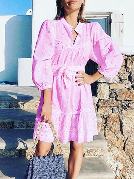 Patchwork Balloon Sleeve Tassel Dress
