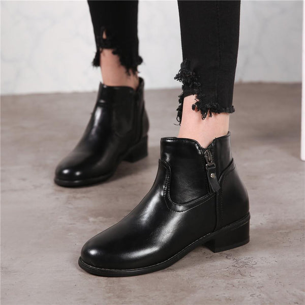 Women's Block Chuncky Heel Zipper Booties