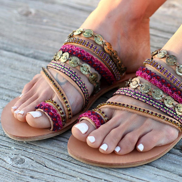 Bohemian Flat Peep Toe Casual Slippers