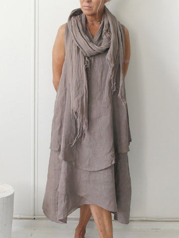 Summer Pierced Asymmetrical Hem Round Neck Linen Dresses