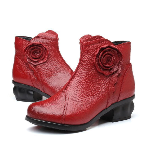Women's Hand-stitching Genuine Leather Vintage Flower Low Heel Boots