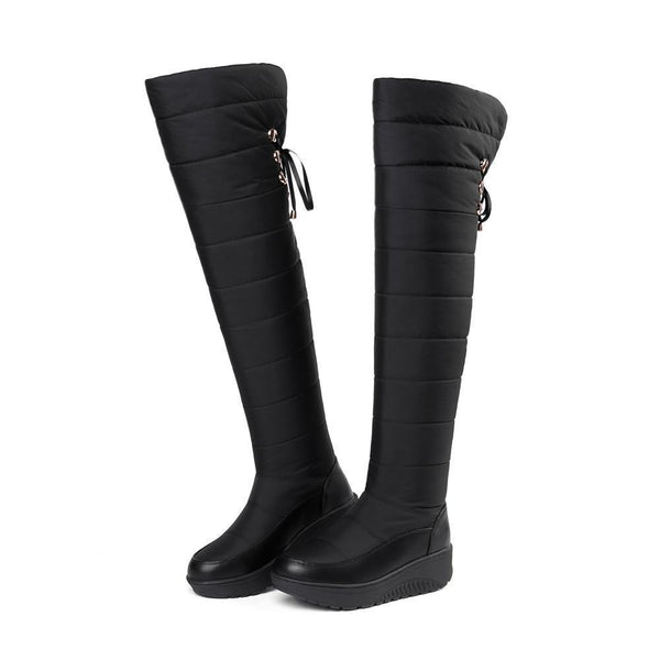 Lace Up High Thick Fur Winter Over The Knee Boots