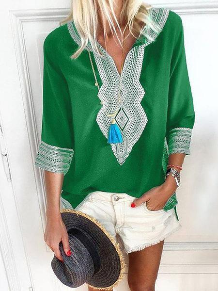 3/4 Sleeve Geometric Cotton V Neck Plus Size Blouse