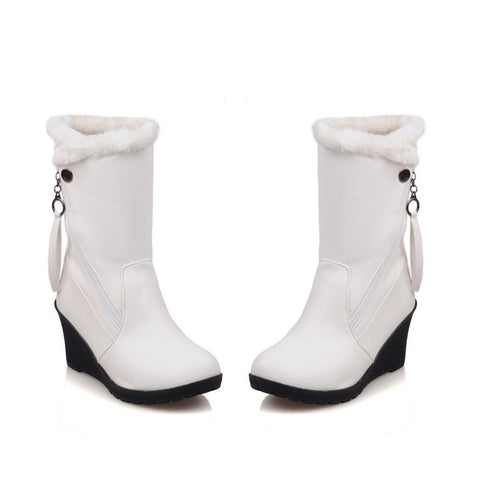 Women Wedge Fur Lined Heel Mid Calf Boots