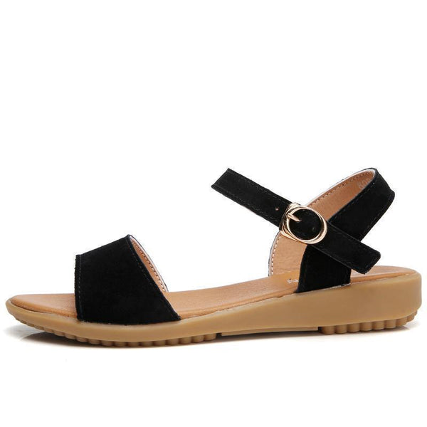 Women's Summer Suede Genuine Leather Basic Sandals