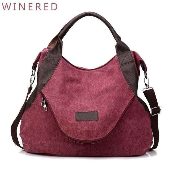 Women's Large Pocket Messenger Handbag - Roseairign