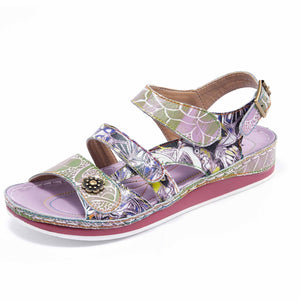 Bruel 068 Retro Genuine Leather Handmade Painted Velcro Original Comfortable Sandals