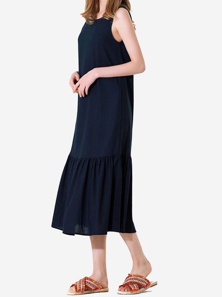Summer Sleeveless Daily Solid Shift Ruffled Paneled Maxi Dresses