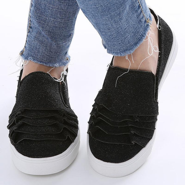 Women's Ruffle Suede Flat Slip-on Sneakers