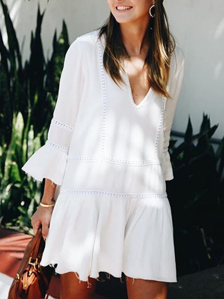 Women White Long Sleeve Solid Patch Dresses