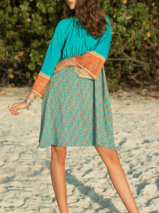 Green 3/4 Sleeve Cotton-Blend Dresses