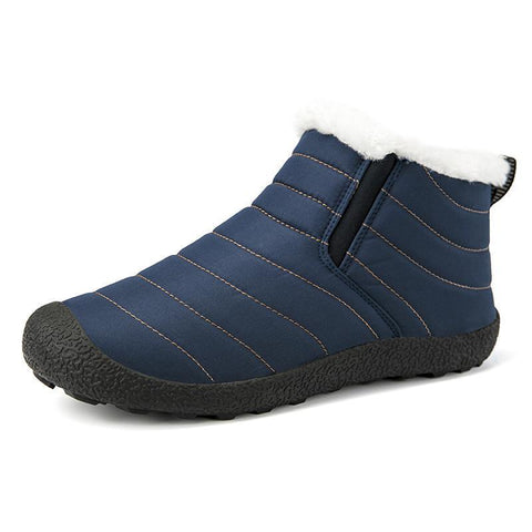 Faux Plush Lining High-Top Slip-on Winter Boots Waterproof Fabric Boots