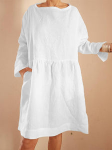 Long Sleeve Elegant Patch Cotton Dresses