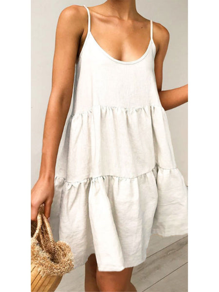 White Sleeveless Sexy V Neck Halter Midi Dresses
