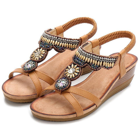 Women's Shoes Bohemia Rhinestone Beaded Beach Comfortable Sandals Wedges