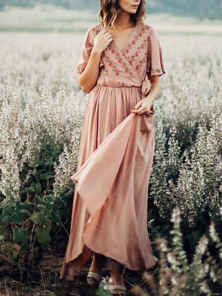 Pink Surplice Neck Women Dresses Swing A-line Embroidered Maxi Dresses