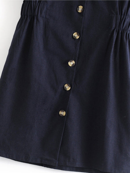 Navy Blue V Neck Short Sleeve Cotton-Blend Patch Dresses