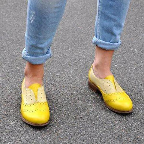 Women Round Toe Carved Brogues Shoes