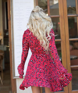 Wild Child Red Leopard Wrap Dress