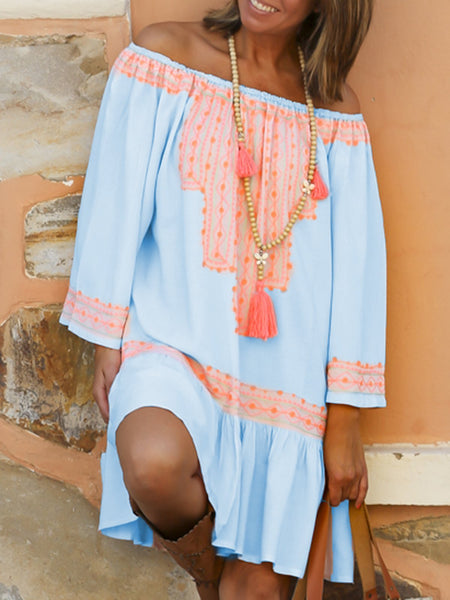 Summer Off Shoulder Tribal Printed Dresses