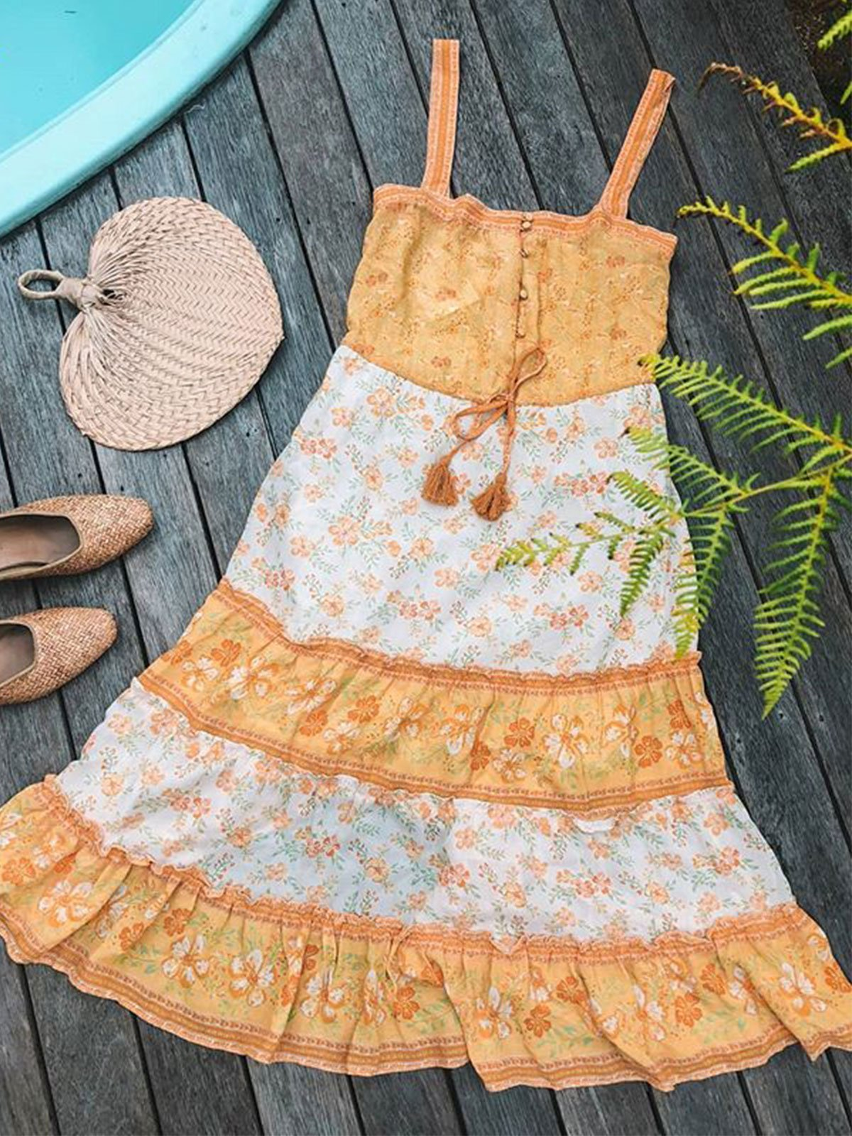 Summer Sleeveless Flower Print Sweet Casual Dresses