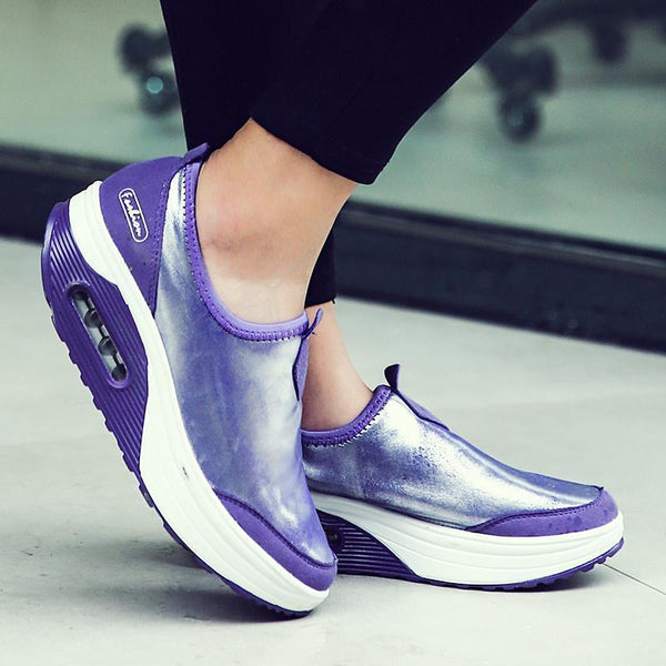 Women's Platform Air Cushion Glossy Sneakers