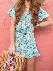 Summer Leaf Print Casual Dresses