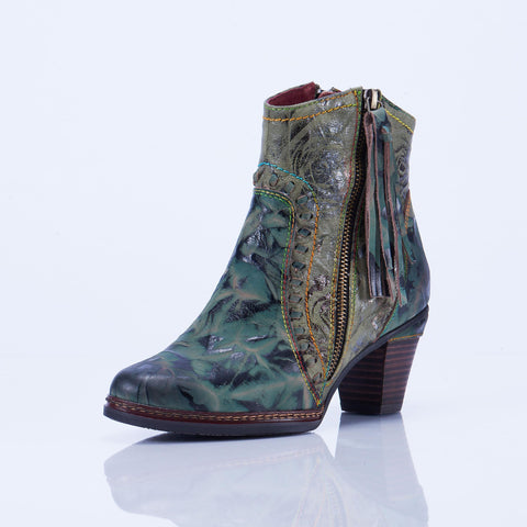 Women Vintage Flower Pattern Genuine Leather Zipper Ankle Boots