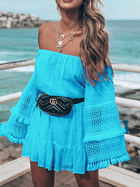 Off Shoulder Bell Sleeve Dresses