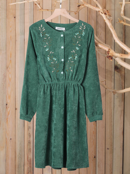 Green Cotton Floral Long Sleeve Crew Neck Casual Dresses