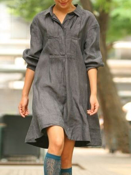 Gray Buttoned Cotton-Blend Patchwork Long Sleeve Dresses